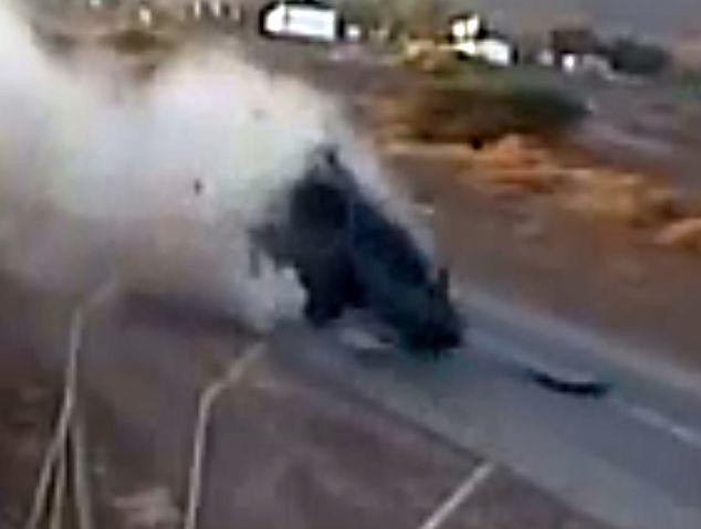 וידיאו יוצא דופן: ג'יפ צה''לי מתהפך בכניסה לאילת