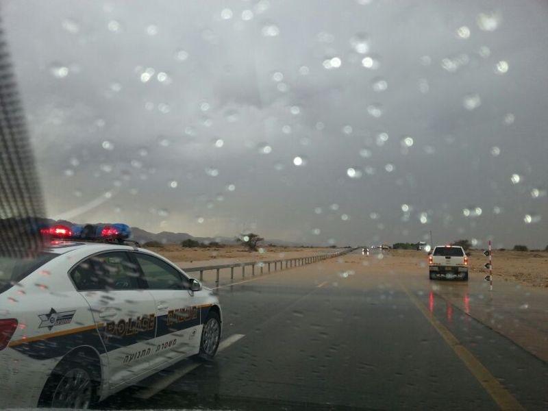 שוב גשם: היציאה מאילת נחסמה לתנועה