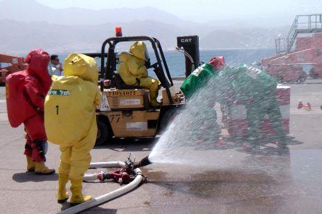 וידיאו ותמונות: תרגיל חומרים מסוכנים בנמל אילת