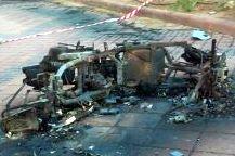 קטנוע שרוף בחצר בית הספר