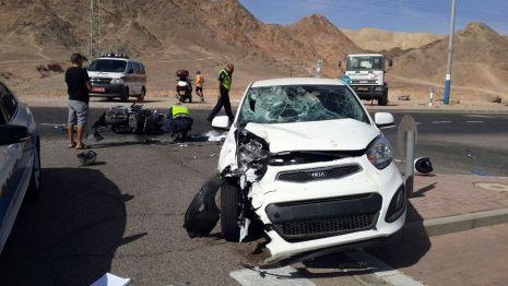 פצוע בינוני בהתהפכות רכב ליד אילת