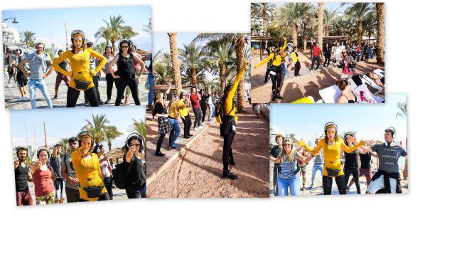 שמש, ים, מוסיקה וריקודים dancing_eilat# מסיבת אזניות בתנועה